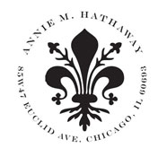 Custom Fleur De Lis Monogram Address Stamp