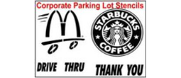 Corporate Logo Parking Lot Stencil, Many shape and sizes to choose from