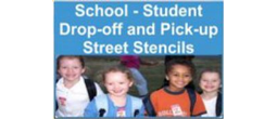 School Students Drop-Off and Pick-Up Street Stencils