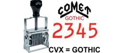 Comet Numbering Band Stamps - Gothic