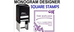 Square Address Monogram Stamps