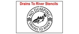 Drains into River Stencil Sets, Qty. 1, 10 and 50 Pack