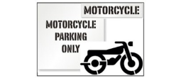 Motorcycle Parking Lot Stencils, Many shape and sizes to choose from