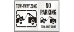 Tow Away Zone Stencils, Many shape and sizes to choose from