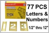 Brass 77 Piece Letters & Numbers Set