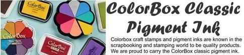 """Pad L 4"""" x W 2.5"""" x D .5""""     Pigment: ColorBox® 6-color Ink Pad"""