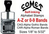 Comet Self-Inking Alphabet or Numbering Stamps