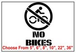No Bikes Safety Symbol Stencil