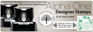 Designer Stamps Alpha One Pre-Inked Designer Stamp Custom Designer Stamp Personalized Gifts Tomorrow