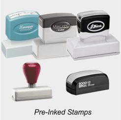 Pre-Inked Stamps, Custom & Stock