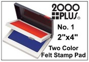 "2000 Plus Two-Color Felt Stamp Pad, Red/Blue, 2"" x 4"""