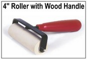 "4"" Wide Wooden Handle Ink Roller"