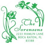 Custom Floral Monogram Address Stamp