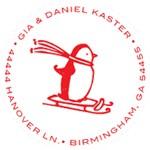 Penguin on Sled Monogram Address Stamp