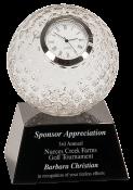 "5"" Golf Ball Premier Crystal Clock"