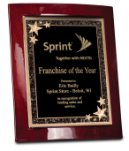 """ecognition Awards Plaques and Awards 8""""x10"""" Black finish plaque w/starburst Recognition Plaques and Awards ROSEWOOD PIANO FINISH ECLIPSE PLAQUE & STARBURST PLATE"""