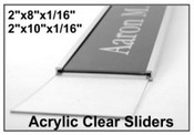 "Acrylic Clear Plastic Nameplate Insert, 2x8 or 2x10 x 1/16"" Thick"