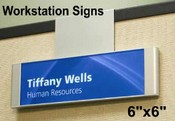 Work Station Sign with Panel Clip Hanger