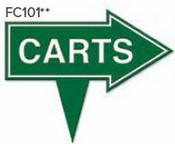 """Carts Arrow Golf Sign with Integrated Spike (10"""" x 8"""")"""