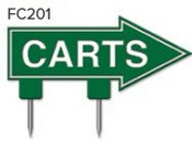 "Carts Arrow Golf Sign with Integrated Spike (12"" x 6"")"