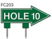 "Hole 10 Arrow Golf Sign with Integrated Spike (12"" x 6"")"