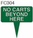 "No Carts Beyond Here Golf Sign with Integrated Spike (10"" x 10"")"