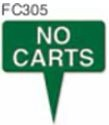 "No Carts Golf Sign with Integrated Spike (10"" x 10"")"