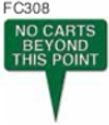 No Carts Beyond This Point Arrow Golf Sign
