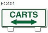 Carts With Arrows Golf Sign