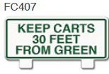 Keep Carts 30 Ft. From Green Golf Sign