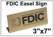 "3"" x 7"" FDIC Easel Tabletop Sign