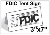 "3"" x 7"" FDIC Tent Tabletop Sign FDIC Sign FDIC"