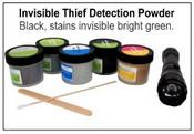 TDIBG2 Black, stains Bright Green Thief Detection Powders