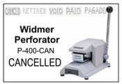 P-400-CAN Widmer CANCELLED Perforator