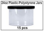 24oz Plastic-Polystyrene Jars - 15/case