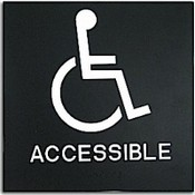 "Presto Black 8"" x 8"" Handicap Accessible Ready Made ADA Sign"