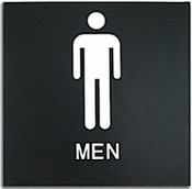 "Presto Black 8"" x 8"" Mens Restroom Ready Made ADA Sign"