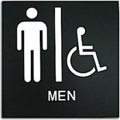 "Presto Black 8"" x 8"" Mens Handicap Accessible Restroom Ready Made ADA Sign"