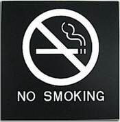 "Presto Black 8"" x 8"" No Smoking Ready Made ADA Sign"