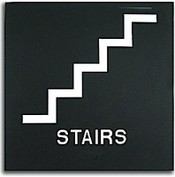 "Presto Black 8"" x 8"" Stairs Ready Made ADA Sign"