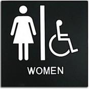 "Presto Black 8"" x 8"" Women Handicap Ready Made ADA Sign"