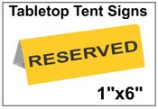 """1"""" x 6"""" Engraved Table Top Tent Sign Tent Signs Table Top Tent Sign"""
