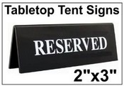 """2"""" x 3"""" Engraved Table Top Tent Sign Tent Signs Table Top Tent Sign"""