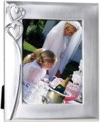 2-Tone Brushed/Shiny Silver Finish Hearts Photo Frame