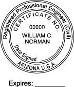 Arizona Architect Embossing Seal Engineering Stamp Architectural Stamp Mechanical Engineer Stamp Land Surveyor Stamp