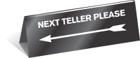 "2"" x 8"" Next Teller Table Top Tent Sign"