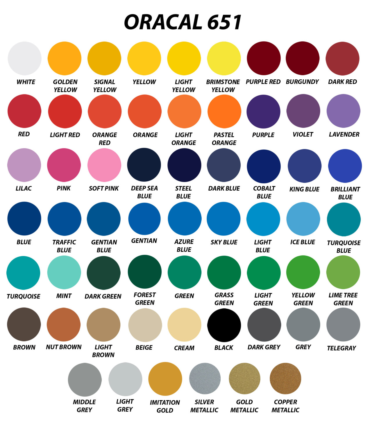 Vinyl Colors Vinyl Lettering Colors Oracal Graphic Film Vinyl Colors