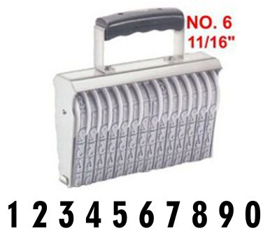 Shiny Size 6-10 Numbering Band Stamp