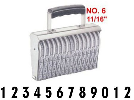 Shiny Size 6-12 Numbering Band Stamp