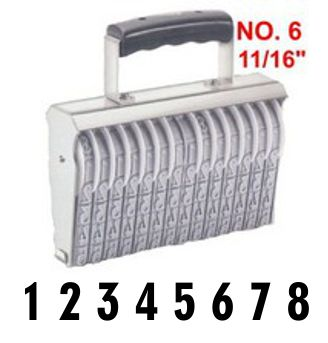 Shiny Size 6-8 Numbering Band Stamp